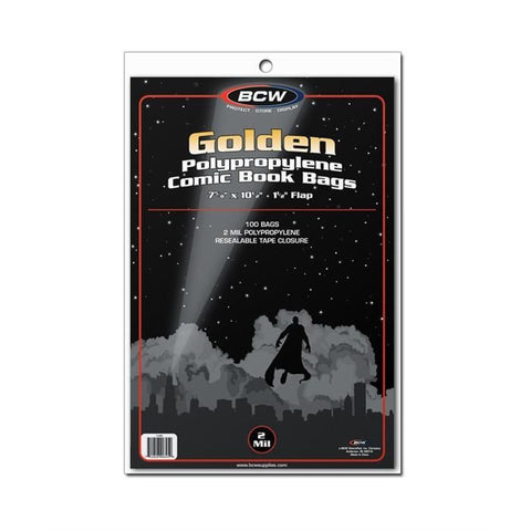 BCW GOLDEN AGE COMIC BOOK BAGS - 2 MIL POLYPROPYLENE