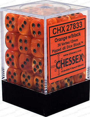 CHESSEX DICE - 36x D6 ORANGE/BLACK