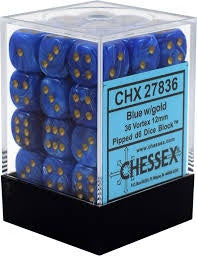 DICE - 36x D6 BLUE/GOLD