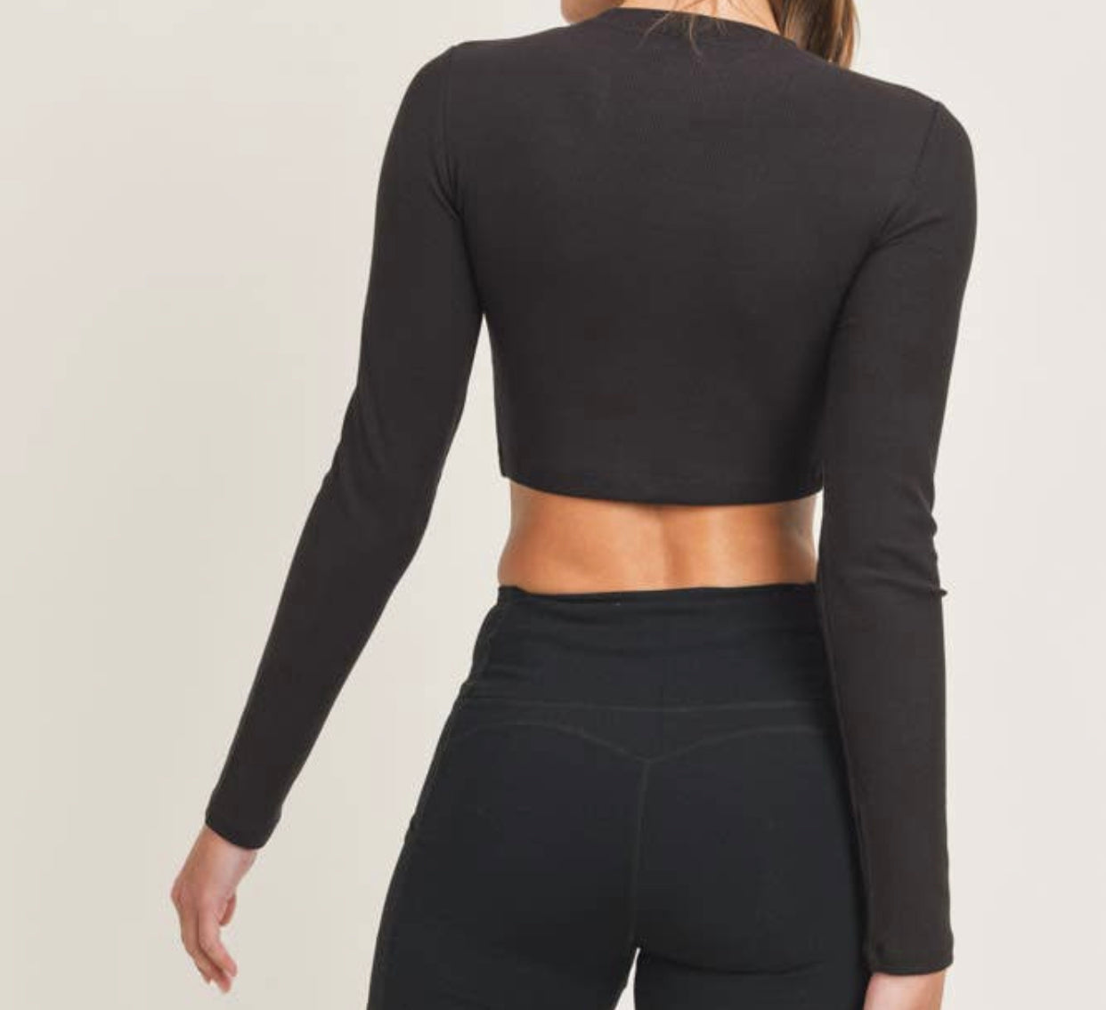 Micro Ribbed Crop ~ Black