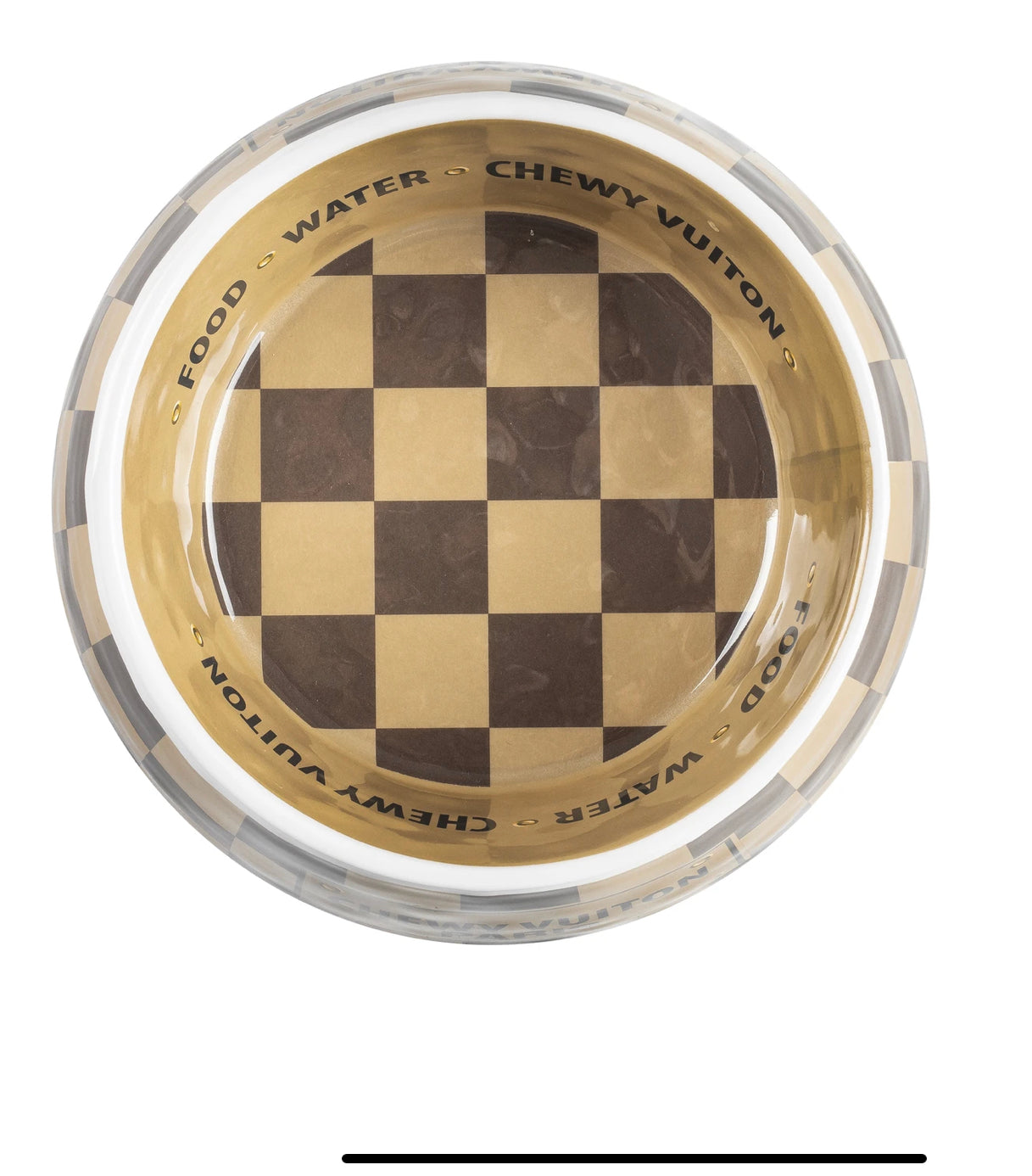 Checker Chewy Vuiton Dog Bowl
