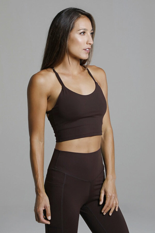 Kira Grace Warrior Y-Back Crop Top~ Mahogany