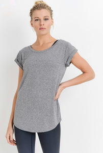 Scoop Neck Cap Sleeve Tee Heather Gray Lavender