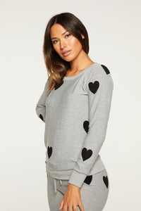 Flocked Hearts Pullover