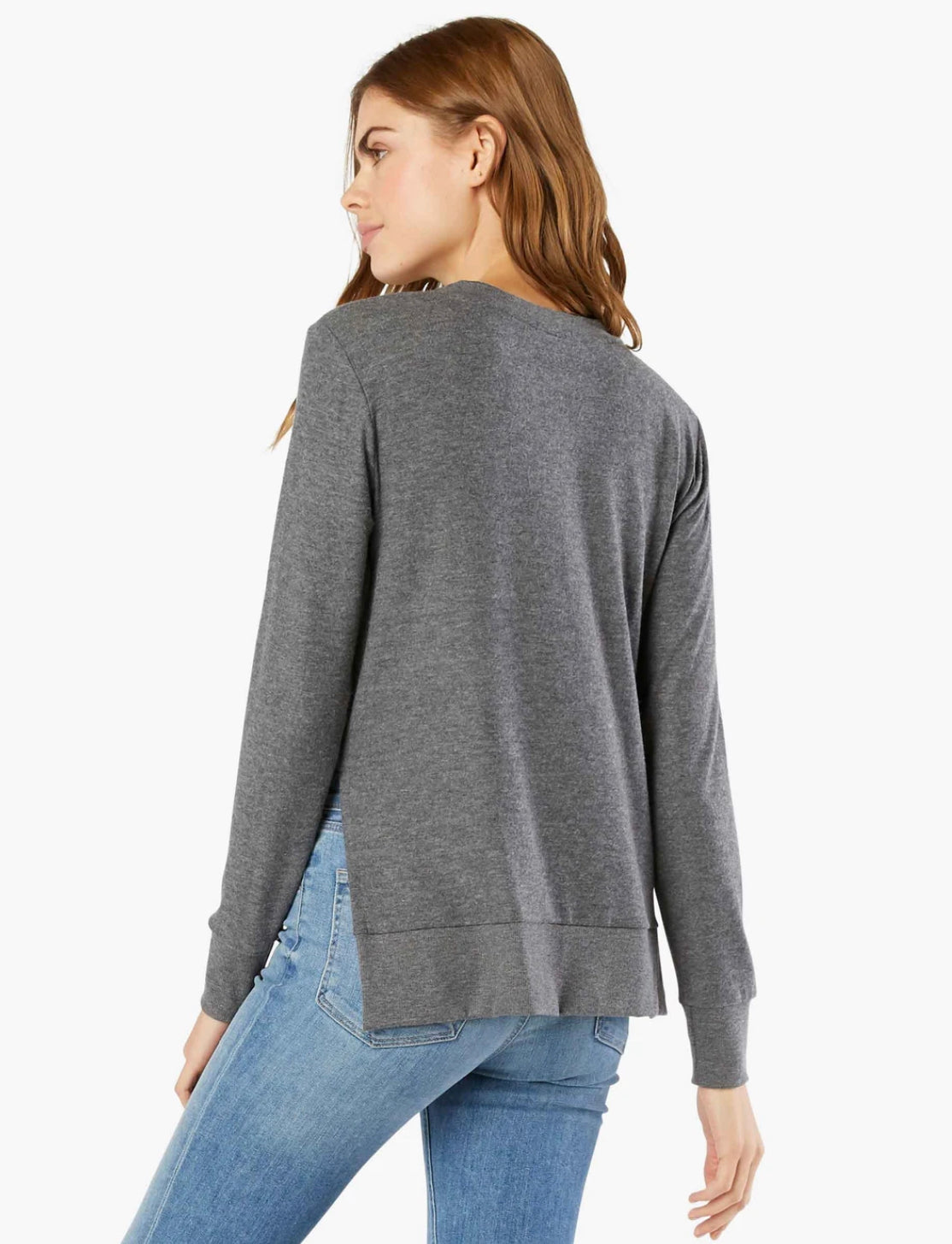 Beyond Yoga Just Chillin L/S Pullover ~ Mid-Heather Grey