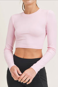 Micro Ribbed Crop ~ Light Pink