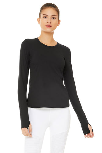 Alo Yoga Finesse Long Sleeve Top ~ Black
