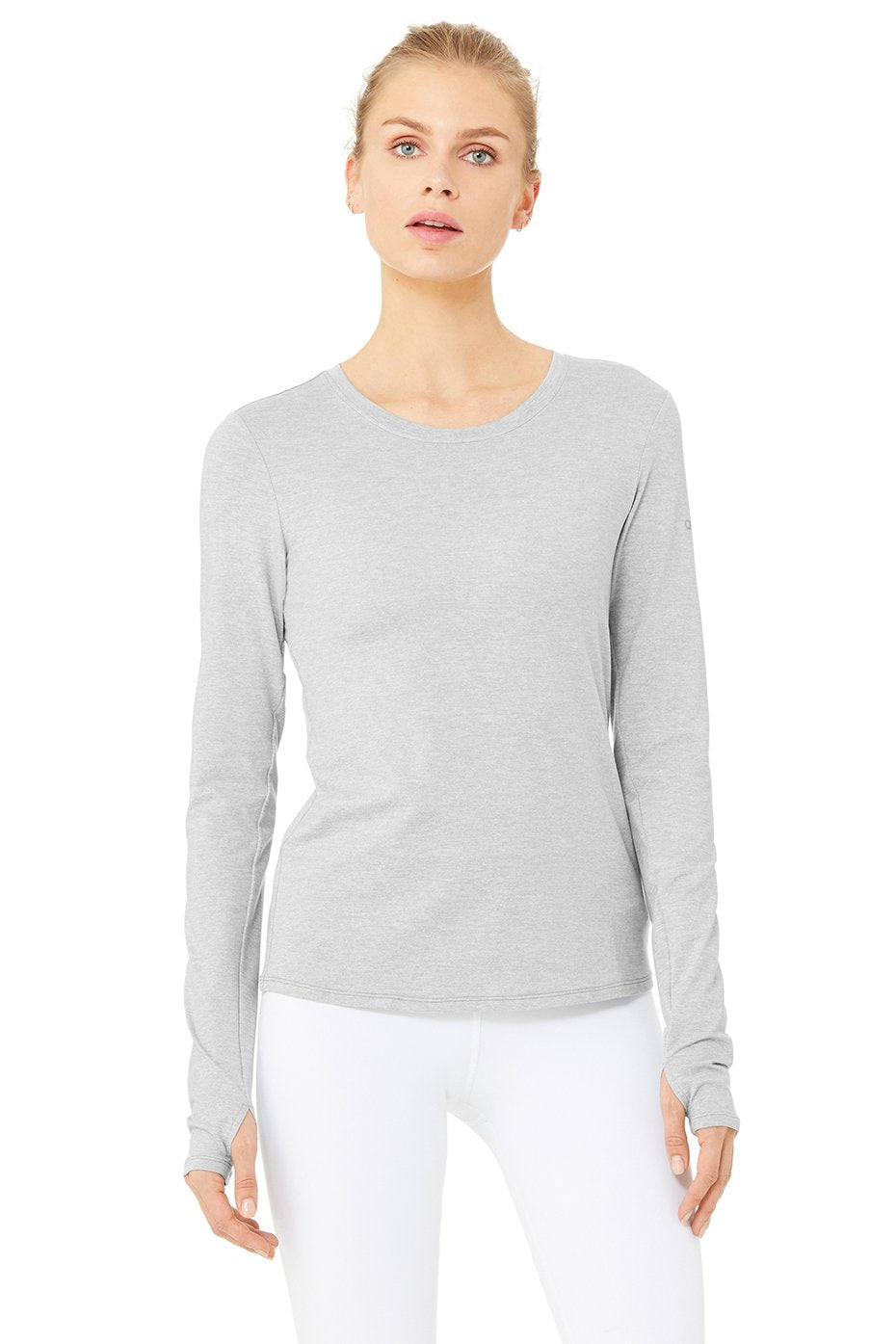 Alo Yoga Finesse Long Sleeve Top ~ Zinc Heather