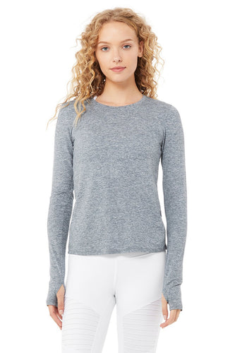 Alo Yoga Finesse Long Sleeve Top ~ Blue Haze Heather