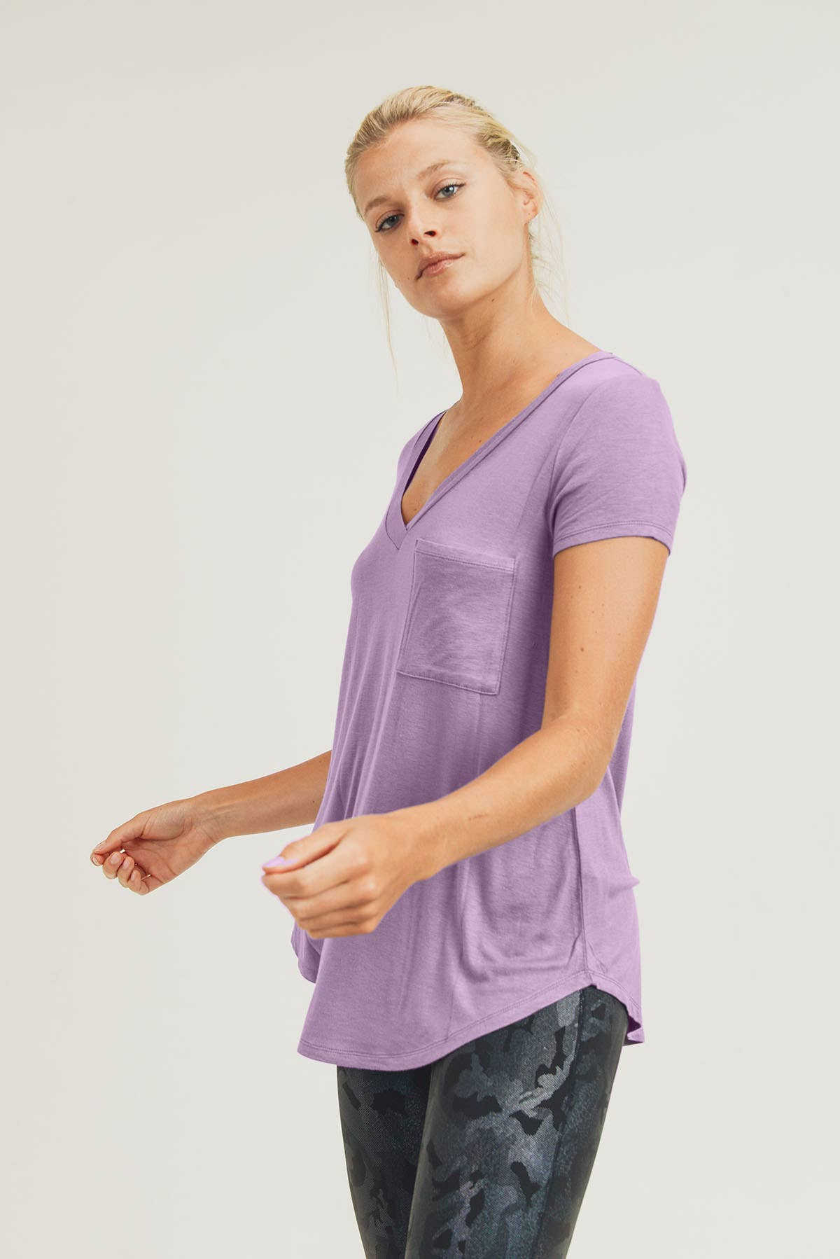 Deep V-Neck Pocket Shirt