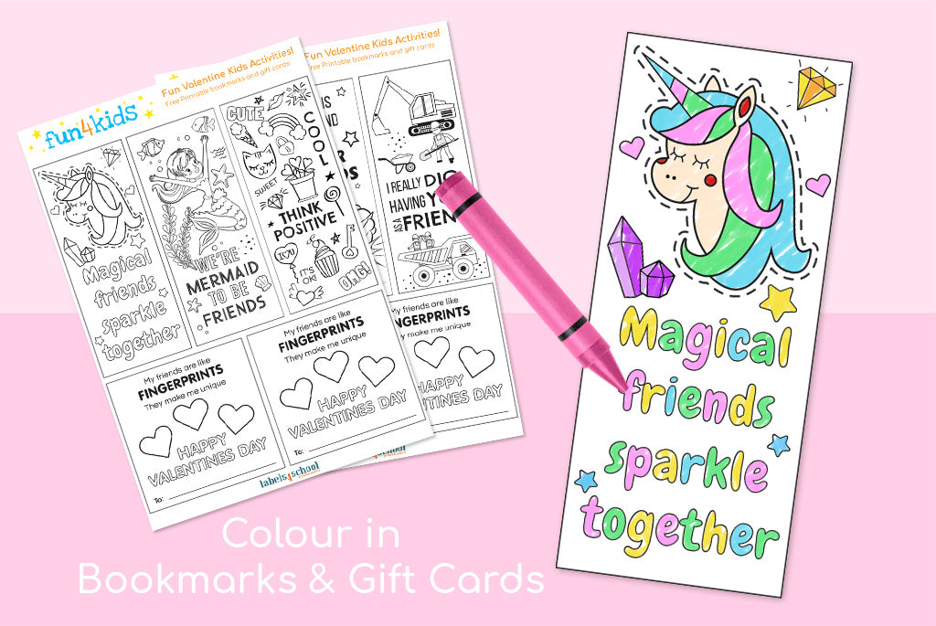 valentines day free printable book mark labels4school