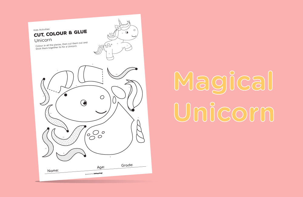 cut colour glue free printable activity from Labels4school - Unicorn Activity