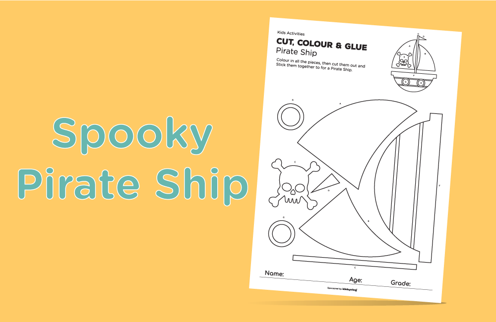 cut colour glue free printable activity from Labels4school - Pirate Ship activity