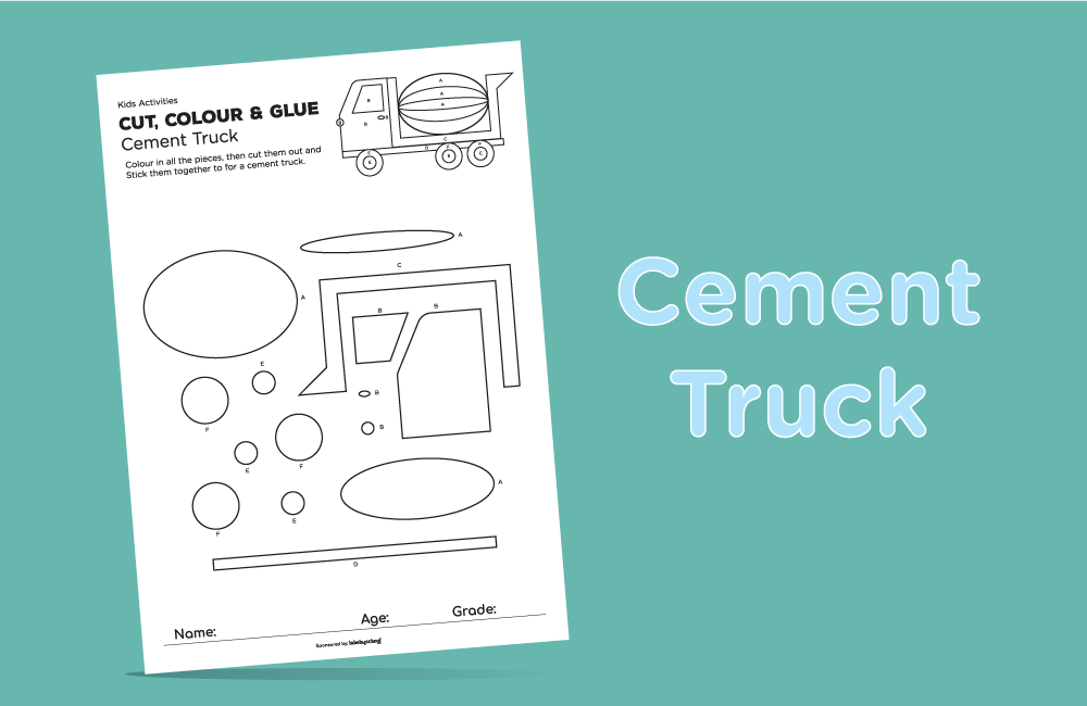 cut colour glue free printable activity from Labels4school - Cement truck activity