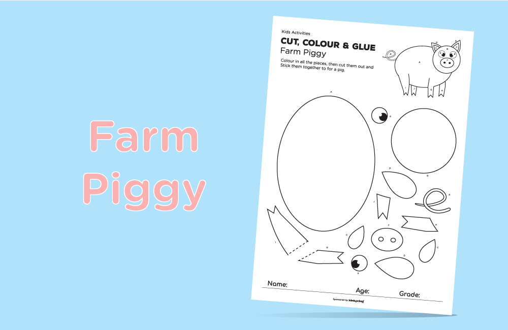 cut colour glue free printable activity from Labels4school - Piggy