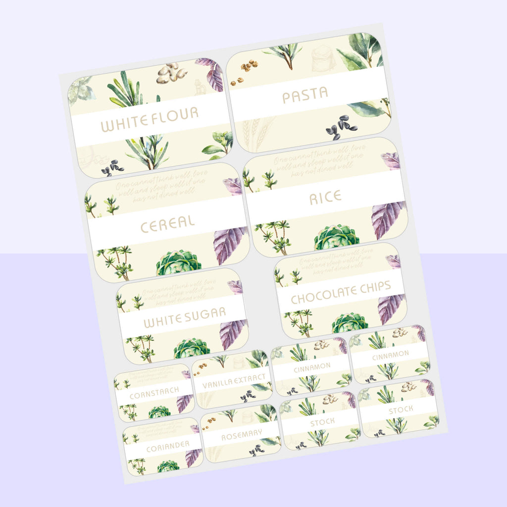 Pantry Labels - Floral