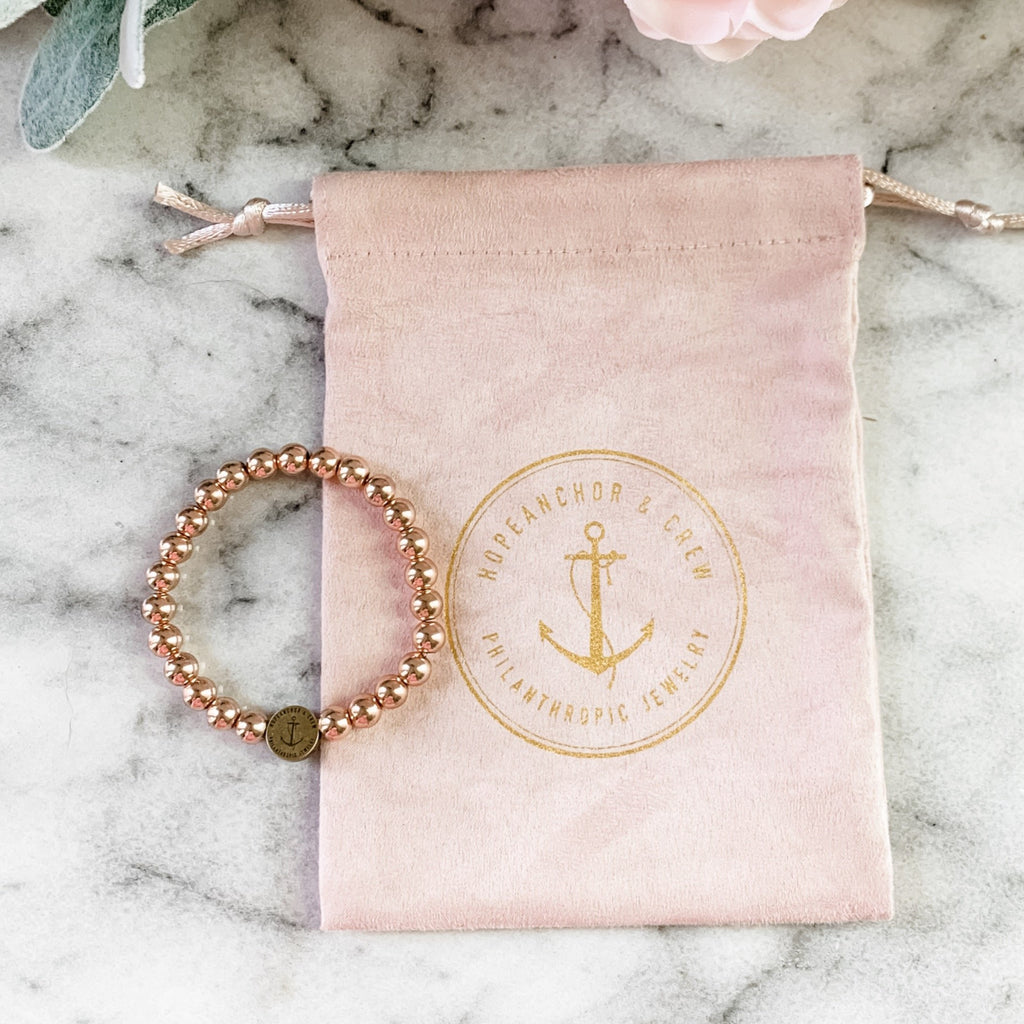 Exclusive Philanthropic Rose Gold 6mm Beaded Bracelet