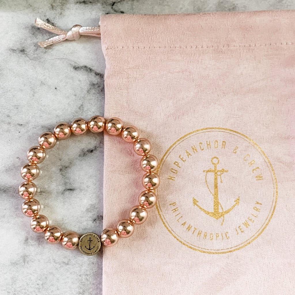 Exclusive Philanthropic Rose Gold 8mm Beaded Bracelet
