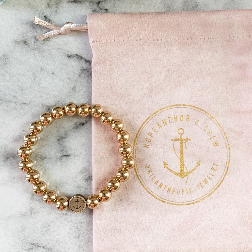 Exclusive Philanthropic Gold 8mm Beaded Bracelet