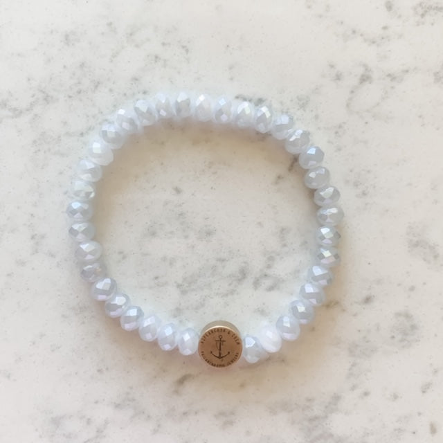 White Shell Cross 6mm Glass Philanthropic Bracelet