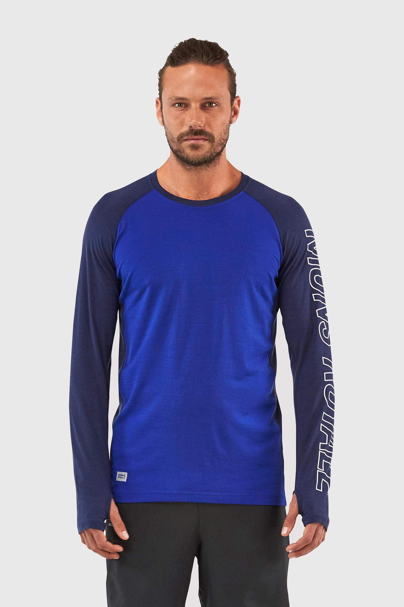 Navy Electric Blue All Sizes Mons Royale Temple Tech Mens Base Layer Top