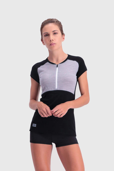 Bella Tech Zip Tee - Black / Grey Marl