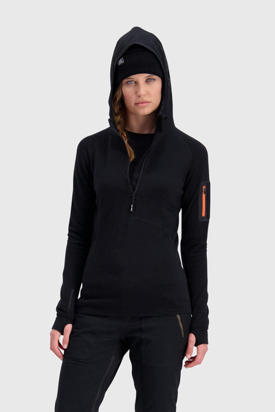 Ascend Midi Half Zip Hood - Black