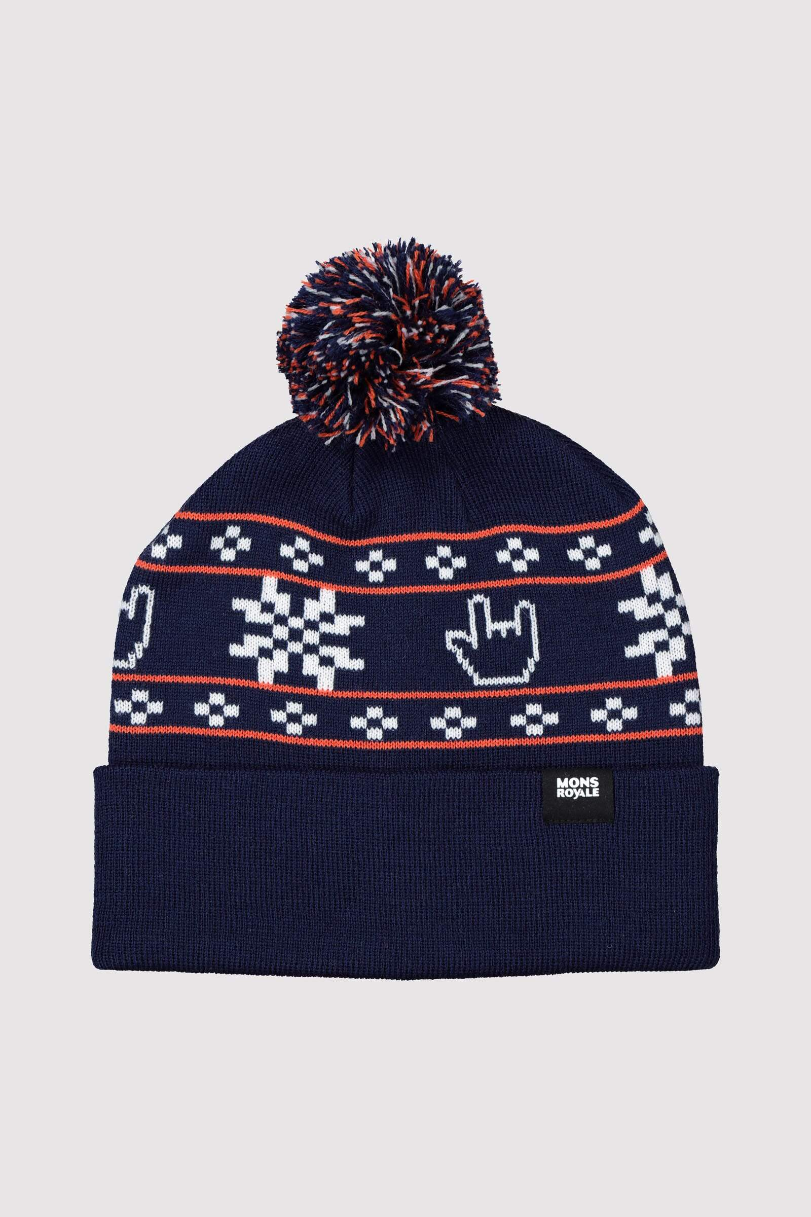 Pom-Pom Beanie - Navy / Orange Smash