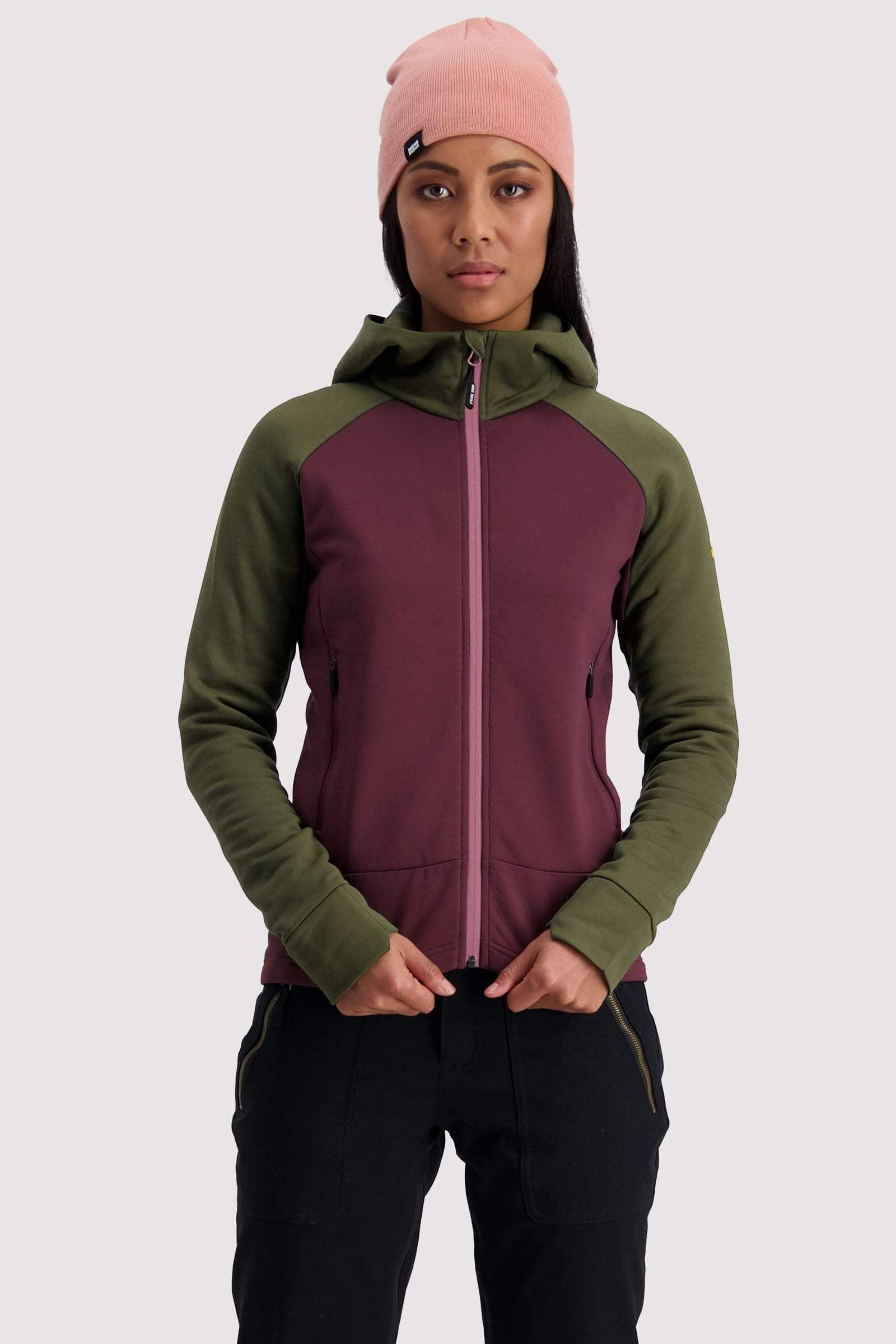 Nevis Wool Fleece Hood - Blackberry / Canteen