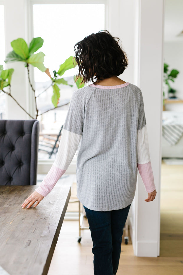 All Talk Ribbed Colorblock Top In Gray