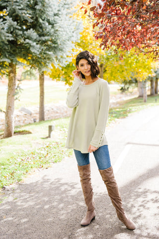 Buttons Of Gold Waffle Knit Top