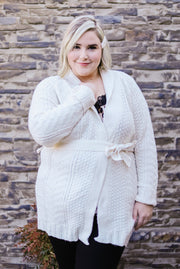 Cable Knit Belted Long Sleeve Cardigan In White Cream - Women's Plus | Frances Blue Boutique