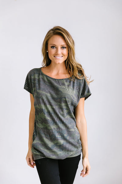 Camo Kangaroo Pocket Top