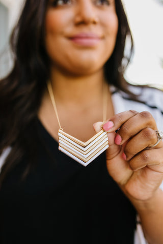 Chevron Necklace In Silver + Gold