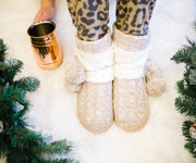 Cable Knit Slippers with PomPoms Lined with Fleece Sherpa - Women | Frances Blue Boutique