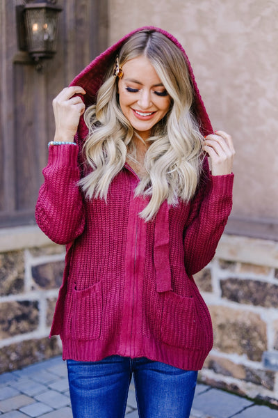 Cranberry Red Sweater Hoodie - Women's | Frances Blue Boutique