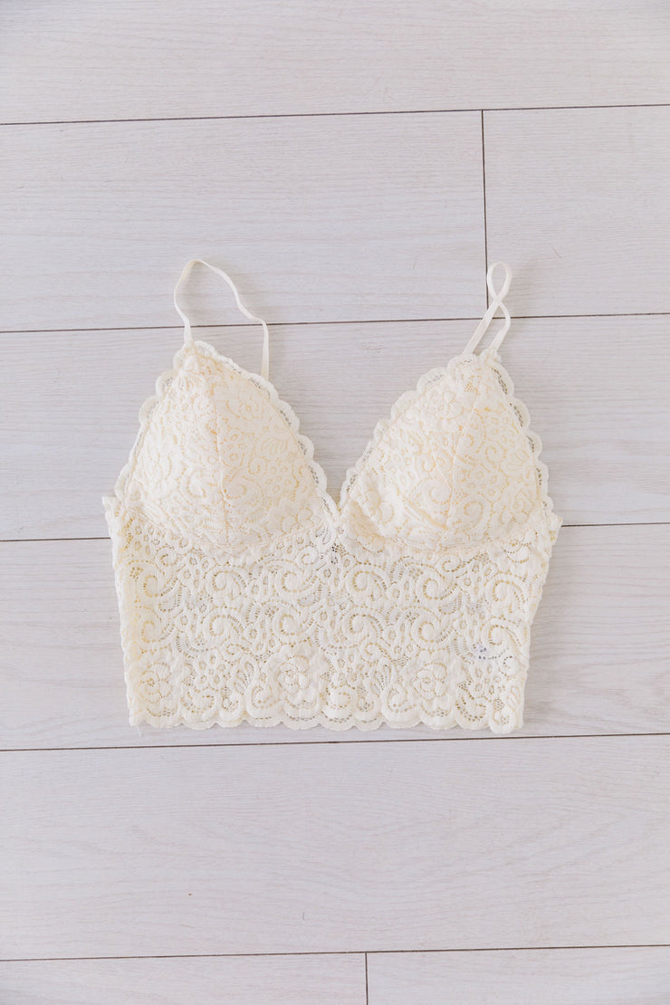 Cropped Lace Camisole In Ivory