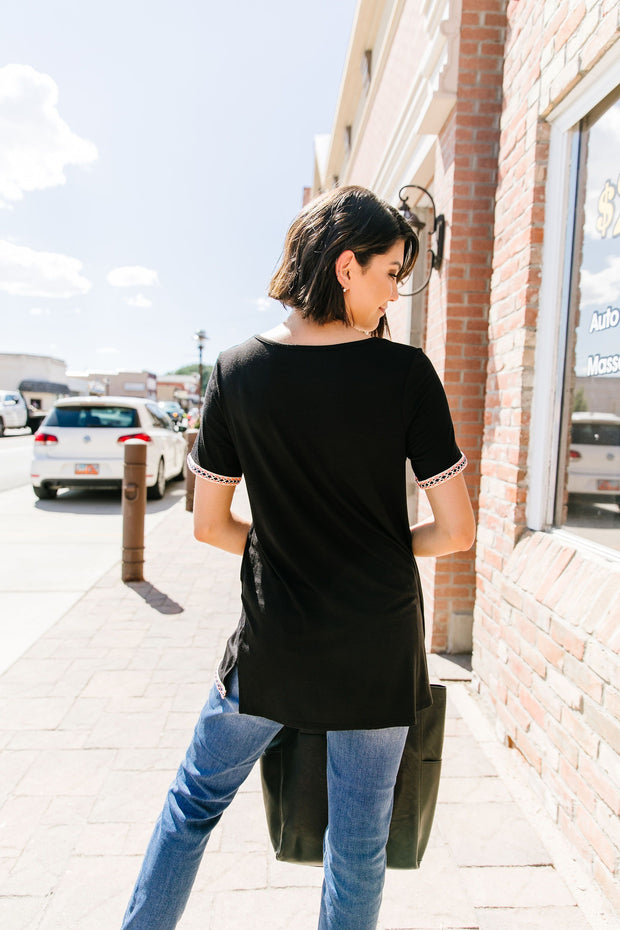 Finishing Touch Embroidered Trim Tee