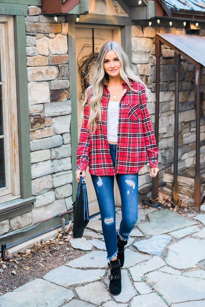 Fleece-Lined Flannel Button-Down In Cherry
