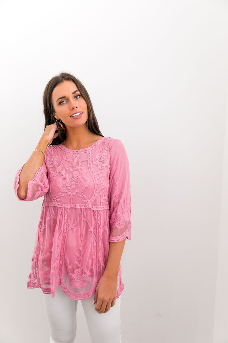 Flirty Lace Blouse In Pink