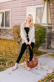 Fur-Ever Young Slouchy Cable Knit Cardigan