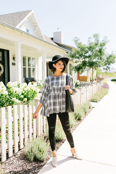 Gingham + Plaid Babydoll Blouse