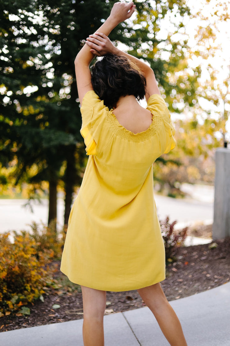 Golden Girl Smocked Neck Dress