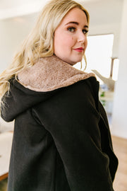 Head Over Heels Sherpa Lined Hoodie In Black