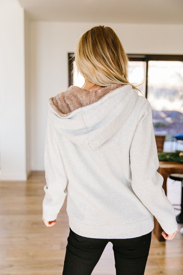 Head Over Heels Sherpa Lined Hoodie In Gray