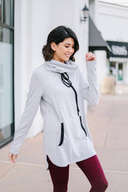 Hop To It Cowl Neck Tunic In Heather Gray