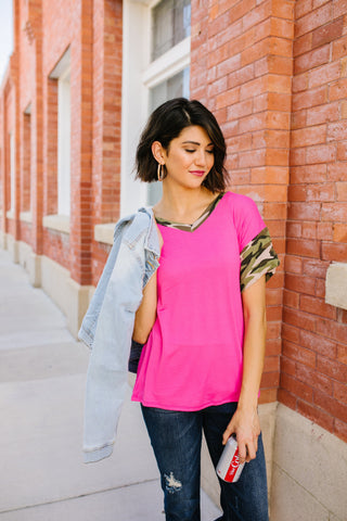 In Plain Sight Pink + Camo Top