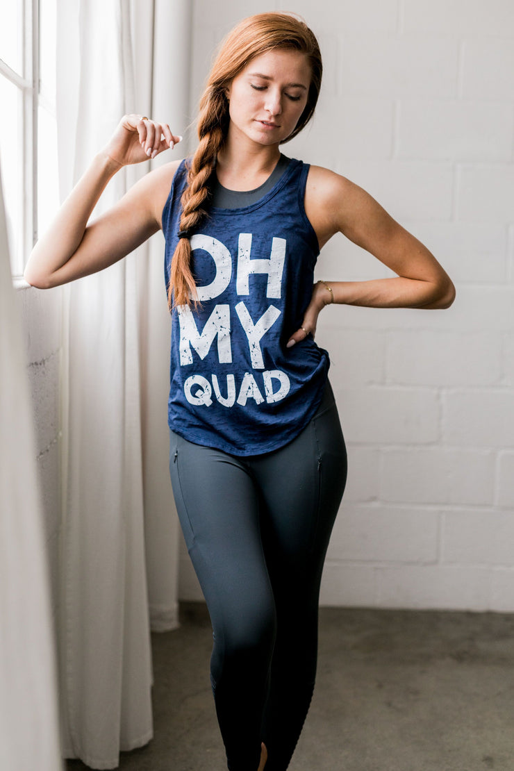 Oh My Quad Burnout Tank In Navy