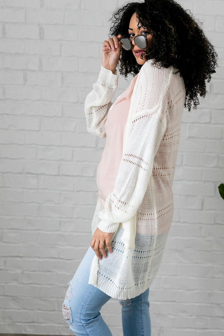 Open Knit Cardi In Pearl