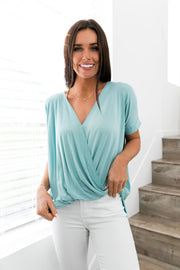 Pastel Draped V-Neck Top In Cyan